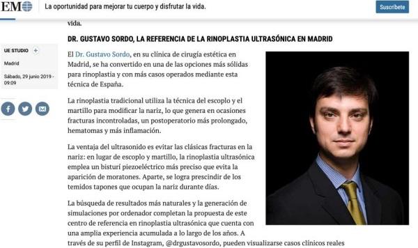 Publicación del Dr. Sordo en el Mundo: Rinoplastia Ultrasónica