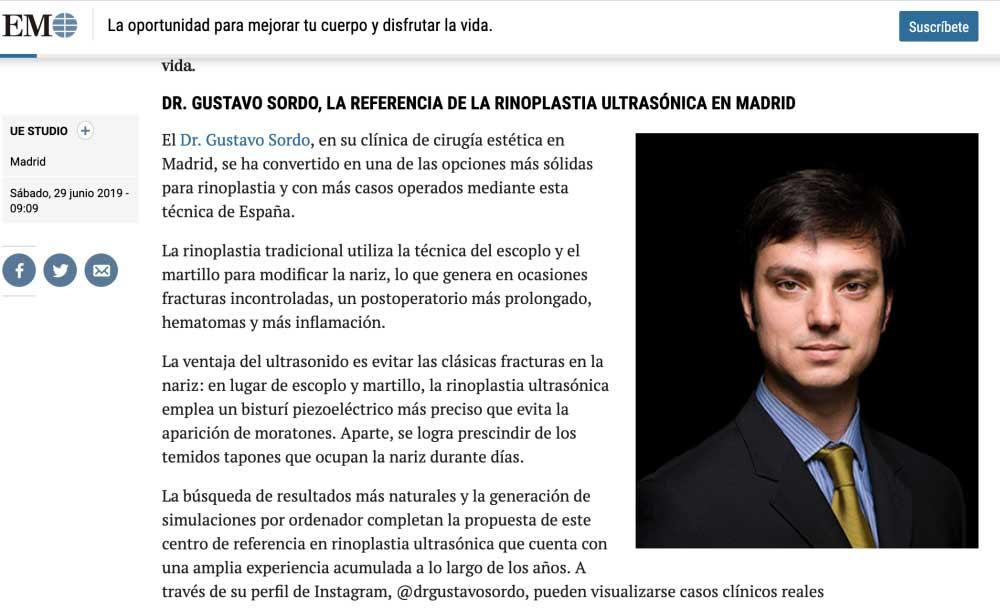 Publicación del Dr. Sordo en el Mundo